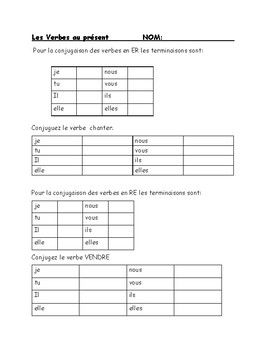French Verb test Present tense of er ir re verbs | French Grammar ...