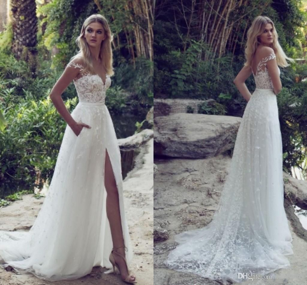 new elegant mermaid wedding dresses button back with illusion