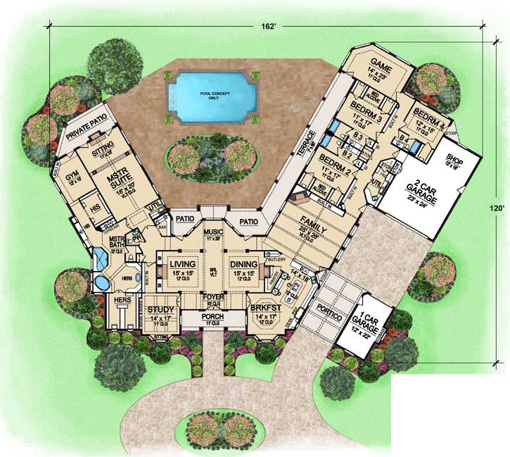 country style house plans - 6610 square foot home, 1 story, 4