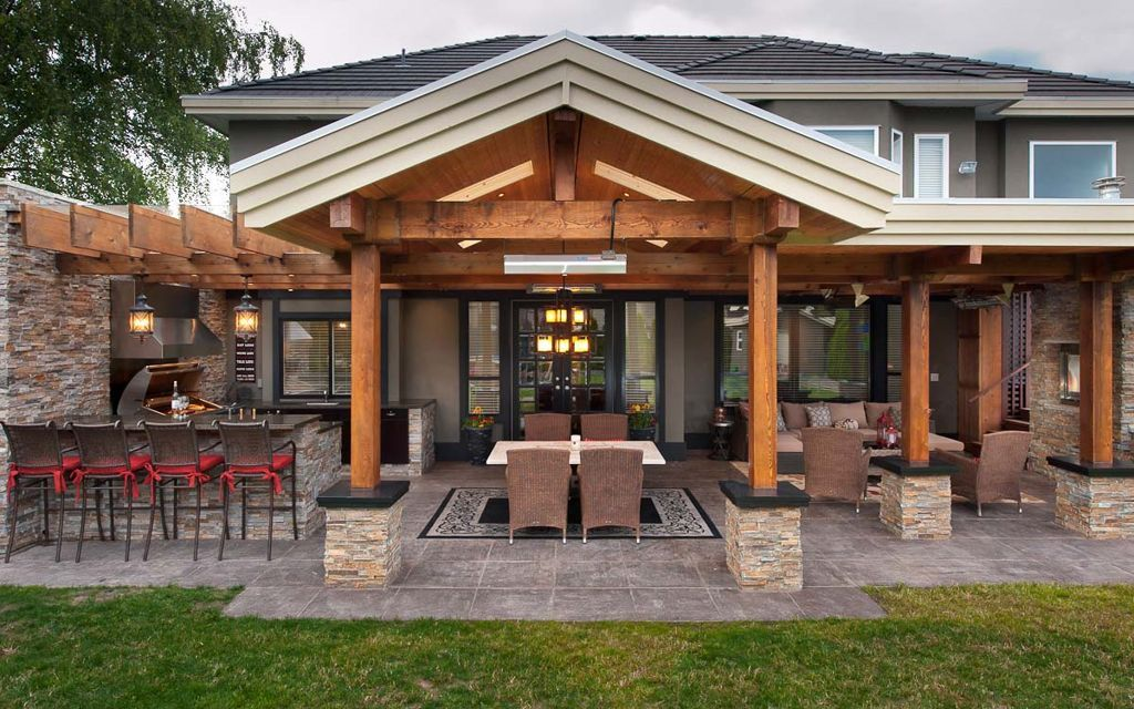 Elegant Outdoor Kitchen Idea In Front Yard With Wooden Pergola Roof And Brick Wall Also Bar Chairs And Dining Chair Furniture Patio Design Outdoor Kitchen Plans Backyard Patio