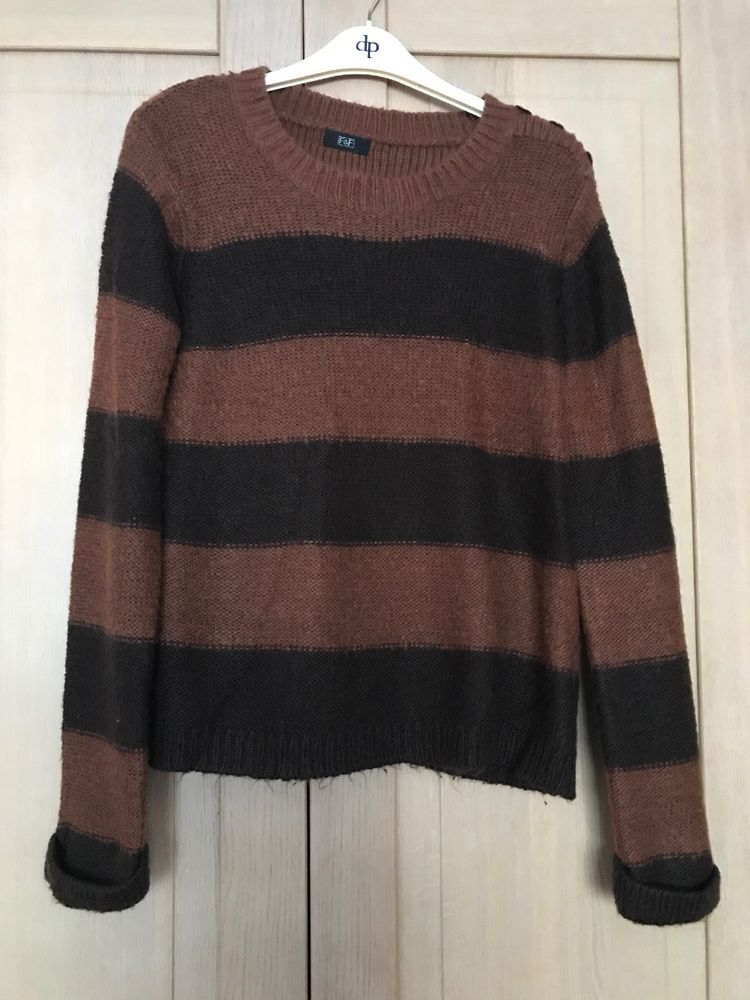 ff9587b539 TESCO F&F Brown Striped Jumper SIZE 12 #fashion #clothing #shoes  #accessories #womensclothing #sweaters (ebay link)