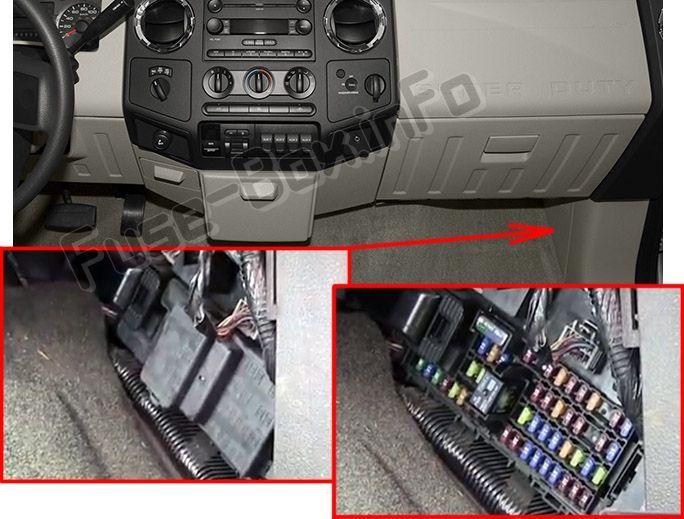 ford f-250/f-350/f-450/f-550 (2013-2015) < fuse box location ... ford super duty fuse box 2004 ford f250 fuse box diagram pinterest