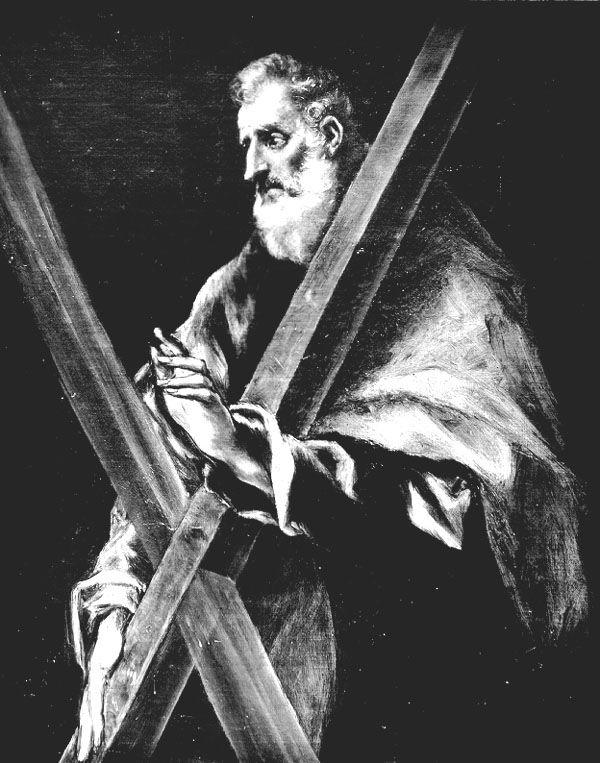 Tabla de San Andrés en la que aparece representado como un anciano, con barba, y vistiendo túnica y manto. Lleva como atributo una cruz en forma de aspa. Esta imagen pertenece al Apostolado de la Sacristía de la Catedral de Toledo http://aleph.csic.es/F?func=find-c&ccl_term=SYS%3D000099849&local_base=ARCHIVOS