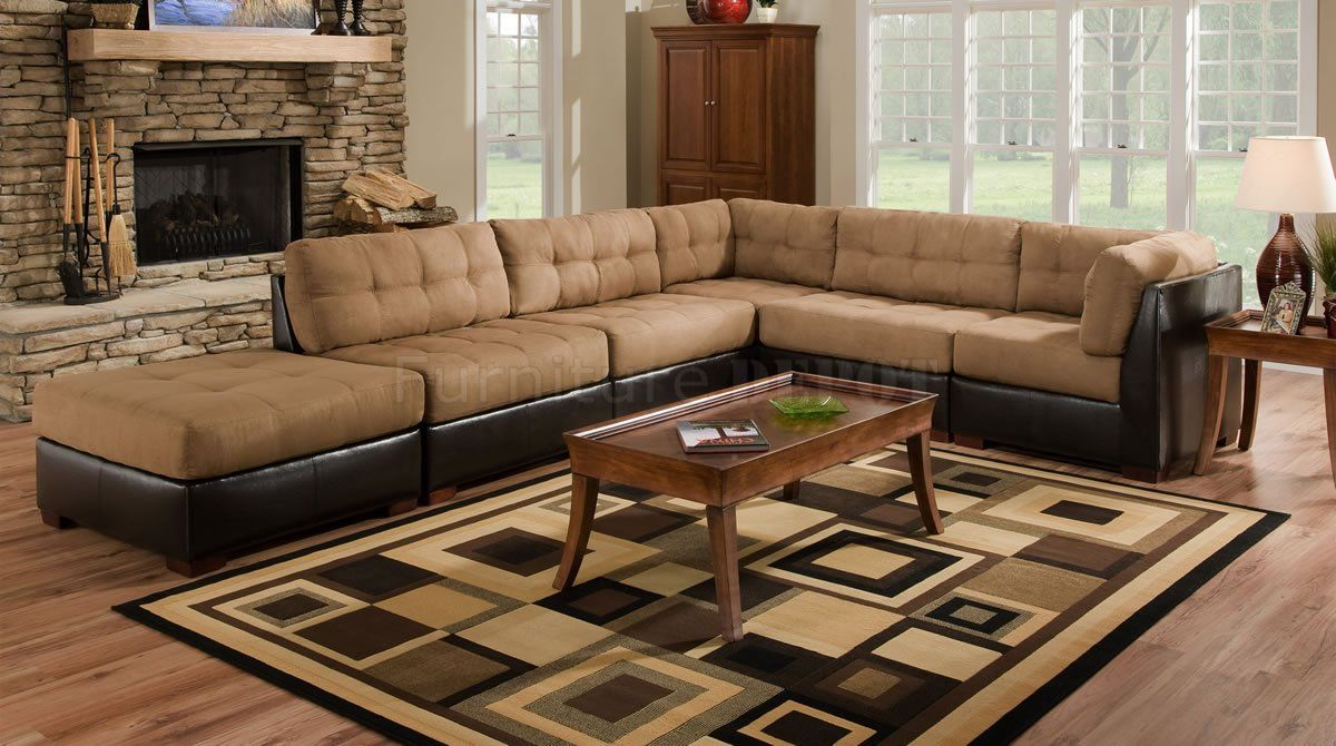 Camel Fabric Sectional Sofa w/Dark Brown Faux Leather Base : camel sectional sofa - Sectionals, Sofas & Couches