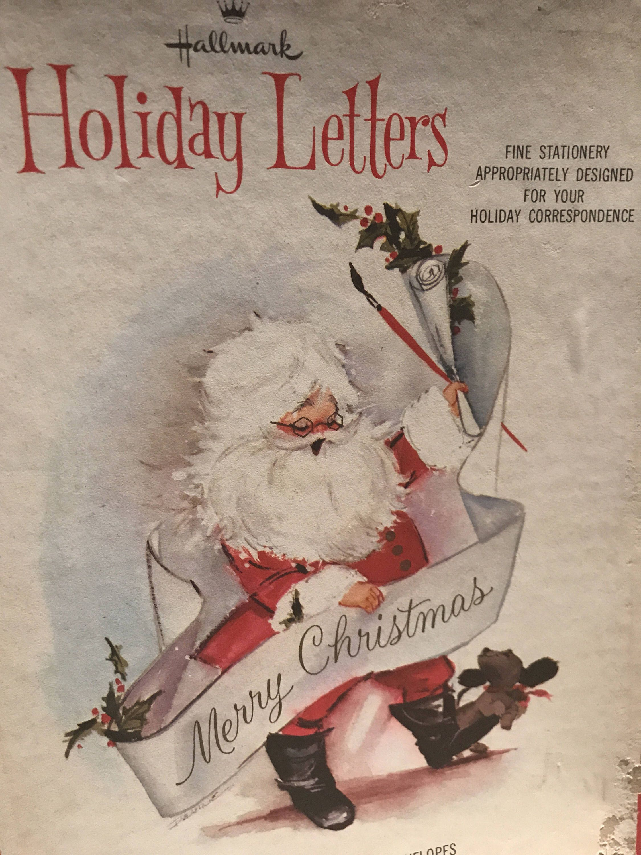 Vintage Hallmark Christmas Santa Letter and Envelope Stationery Set