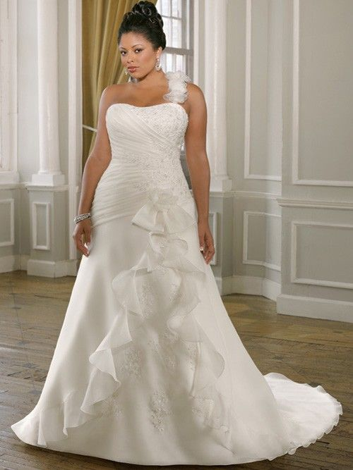 Simple Chiffon A-Line Plus Size Wedding Gown with Straps PS140N in ...