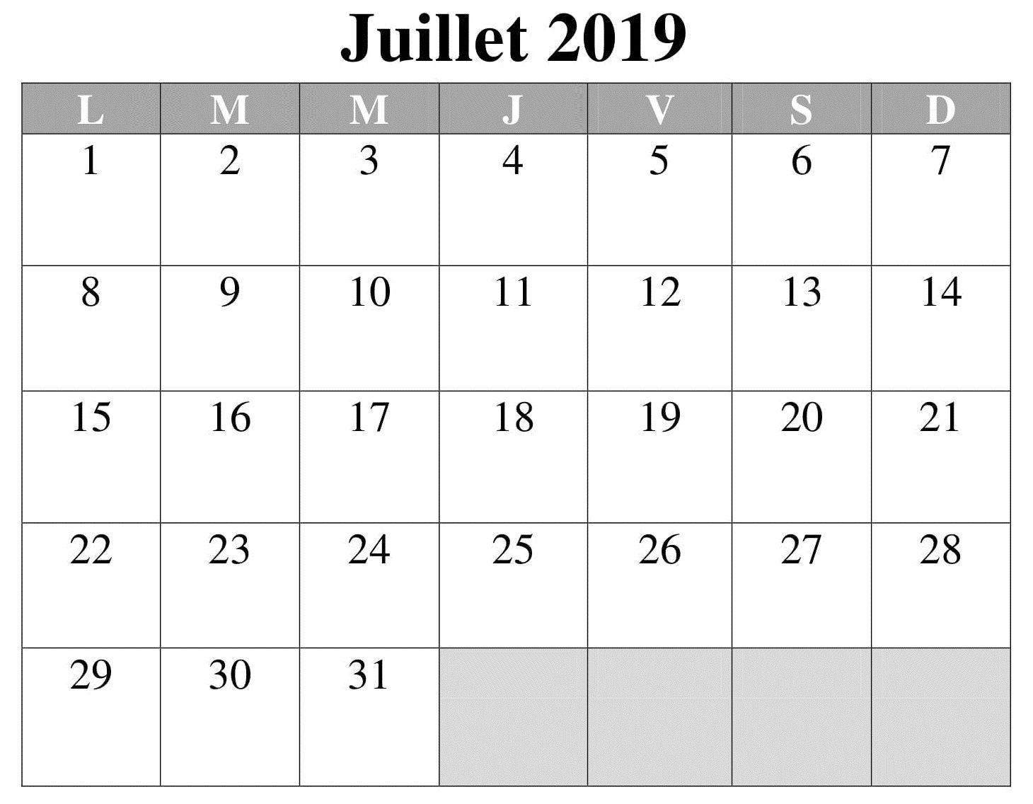 Calendrier 2019 Mois Par Mois A Imprimer.Calendrier 2019 Editable Juillet A Imprimer Gratuit