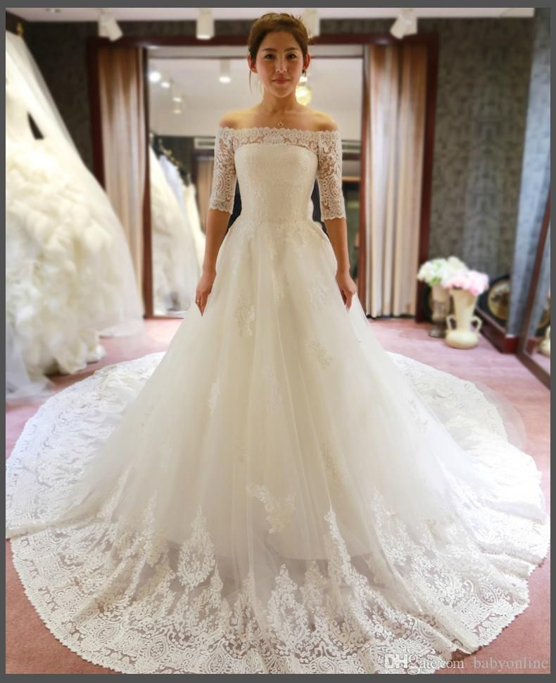 Best  White Vintage Empire Waist Lace A line Wedding Dresses Long Sleeves Cathedral Train Off Shoulder Winter Ball Gown Bridal Gown BO