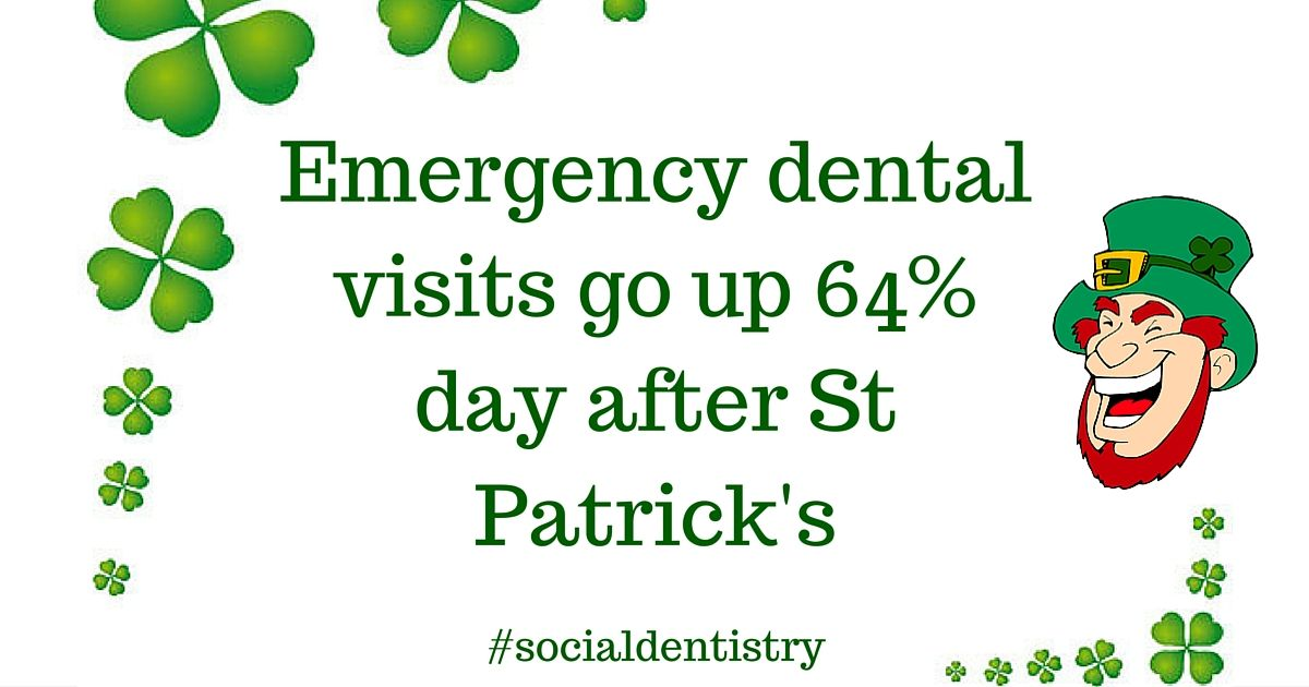 The day after St. Patrick's Day sees 64 more dental