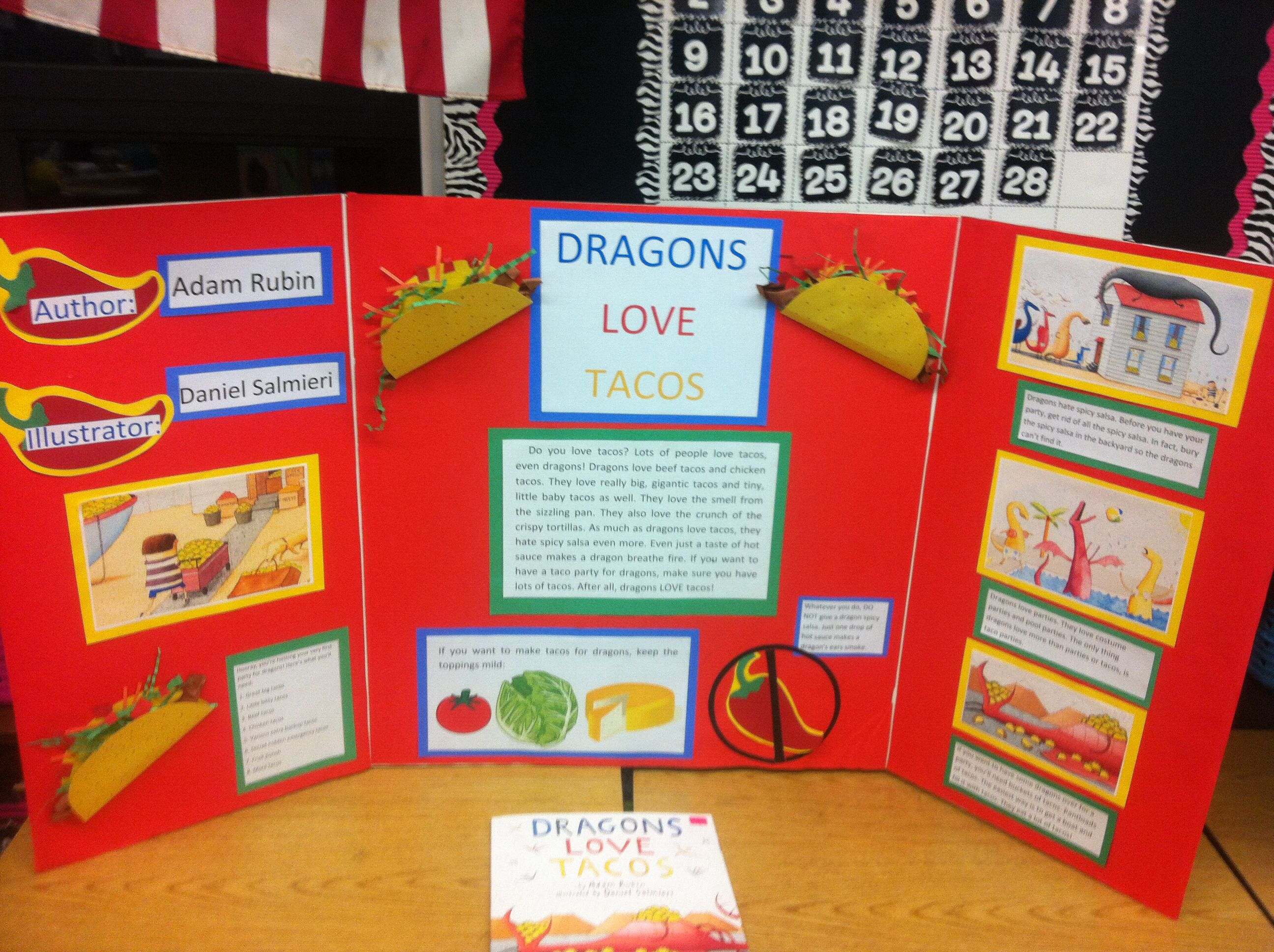 Dragons Love Tacos reading fair board