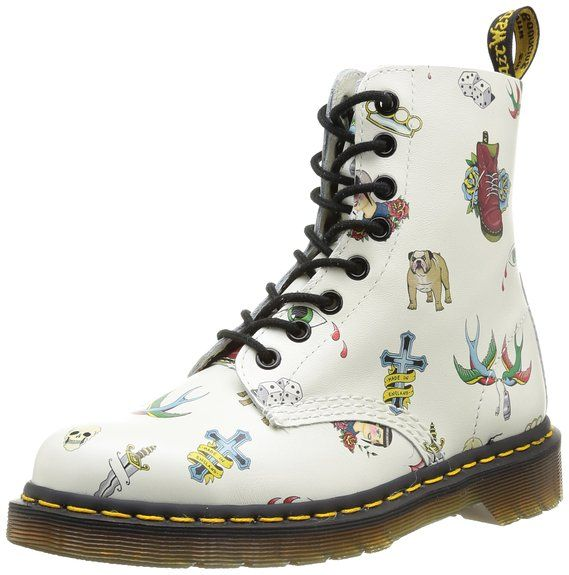 Dr Martens Women S Pascal 8 Eye Boot Off White Skins Tattoo Softy T Uk 4 M Boots Boots Women Fashion Martens