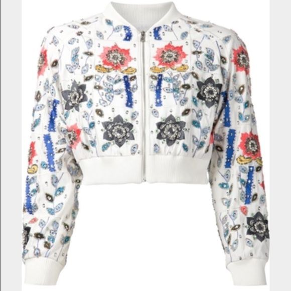 940748465 Alice & Olivia floral sequin bomber jacket NWT SZS Alice & Olivia ...