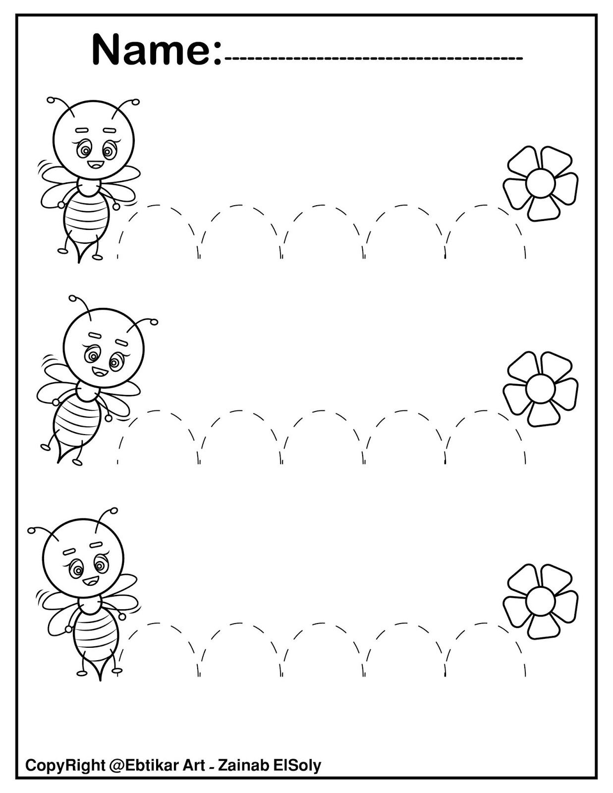Set Of Fine Motor Tracing Bee Activity In