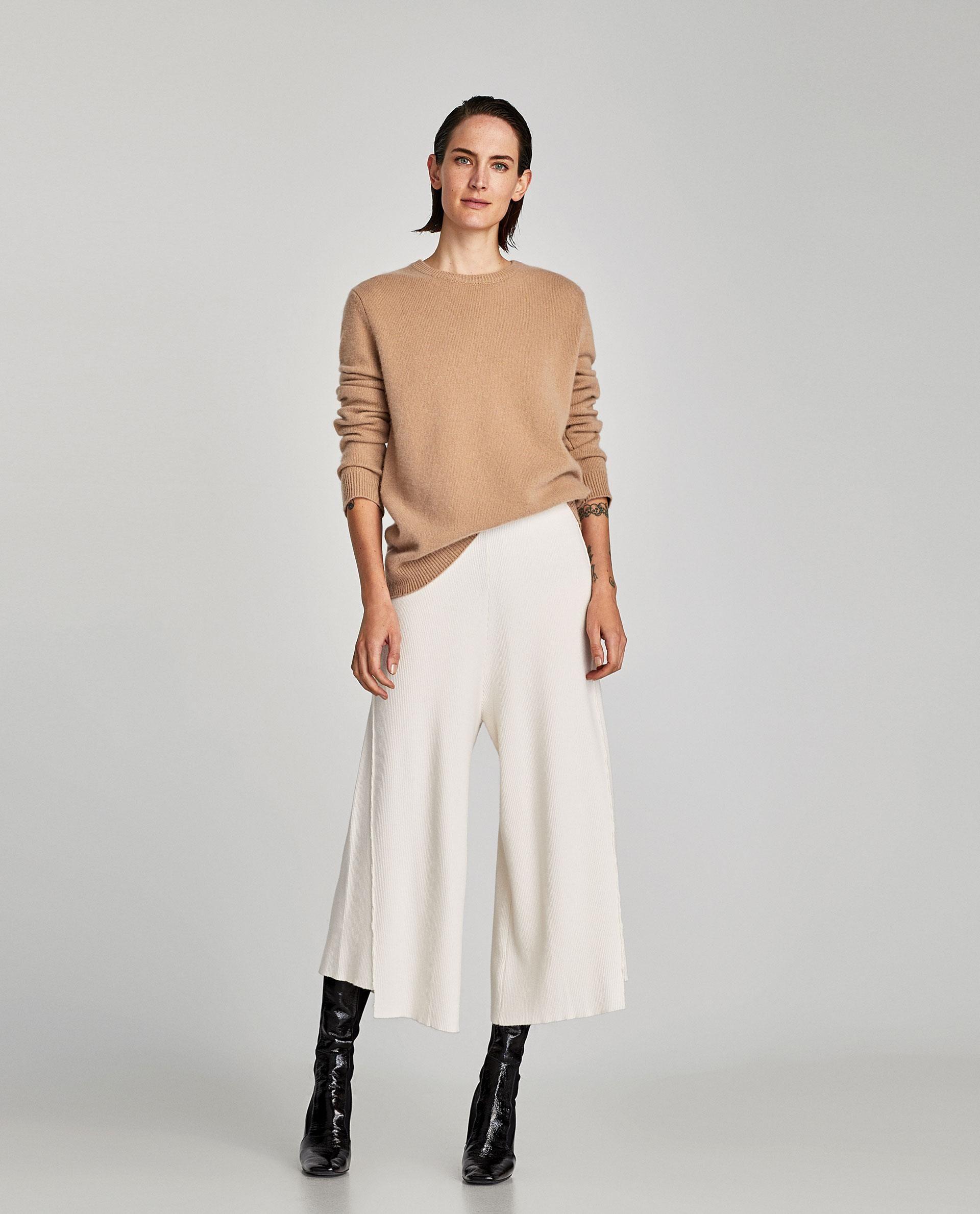 cf8fbc31 Culottes With Asymmetric Hem // 49.90 USD // Zara // Ribbed culottes with  asymmetric hem. HEIGHT OF MODEL: 178 cm. / 5′ 10″