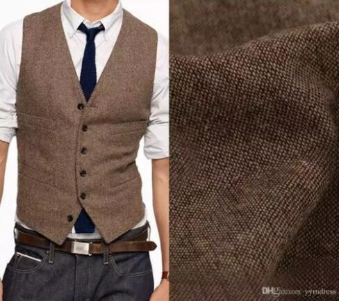 2018 Vintage Brown Wool Herringbone Tweed Groom Vests Mens Suit ... 5f25ec998b87
