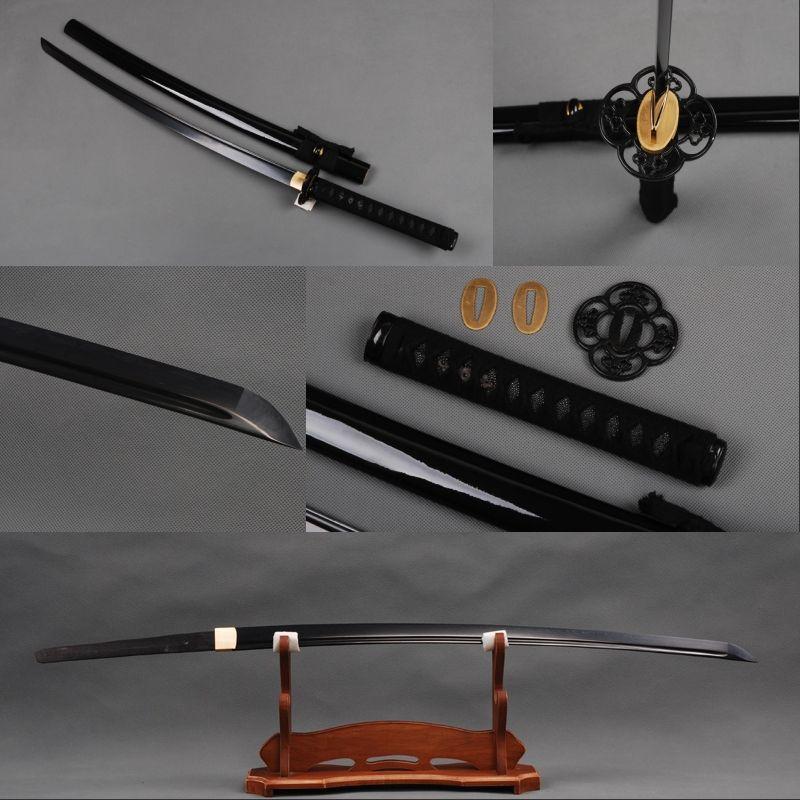 >> Click to Buy << Folded Steel Full Tang Black Blade Japanese Samurai Sword  Fully Handmade Tameshigiri Sharp  Katana Distinctive  Home Decoration #Affiliate