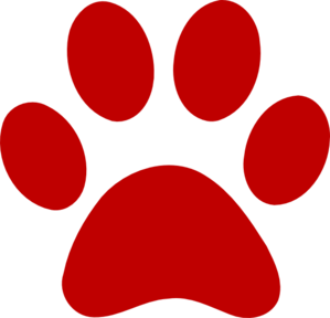 Paw print red. Clip art school patrol