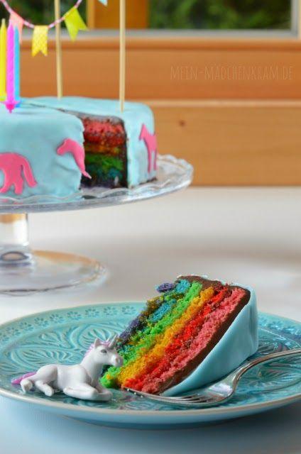 Mädchenkram Rainbowcake Regenbogenkuchen Mit Einhorn Unicorn