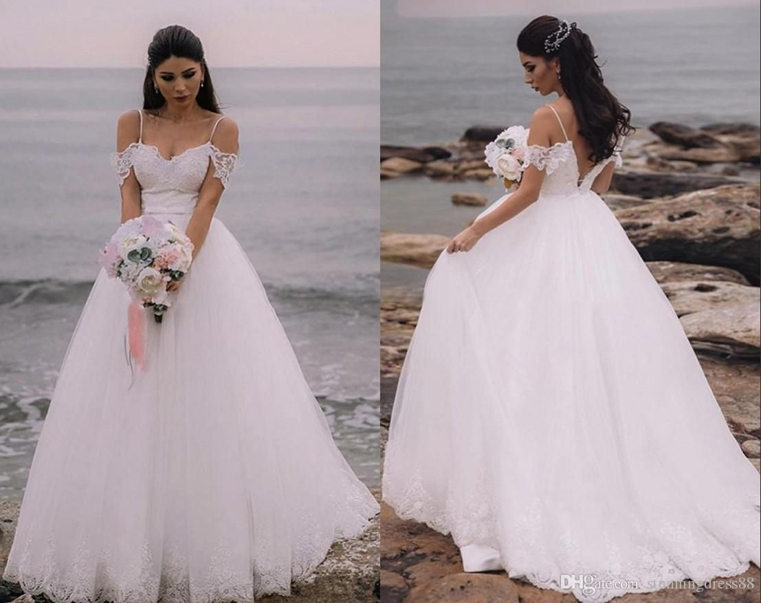 Discount 2020 Bohemian Cold Shoulder Tulle Wedding Dresses With Sleeves A Line Applique New Beach Wedding Gowns Beach Wedding Dress Boho Country Wedding Gowns