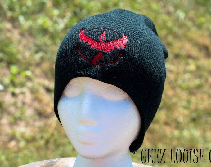 Pokemon Go Beanie ValorTeam adult Toboggan Hat Skull Cap Winter Warm Head Accessory Black Red Embroidered