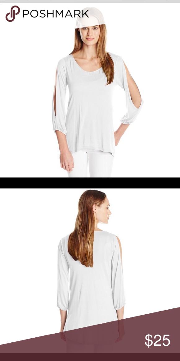 Paper Tee Womens V-Neck Slit Sleeve Hi//lo Hem Top