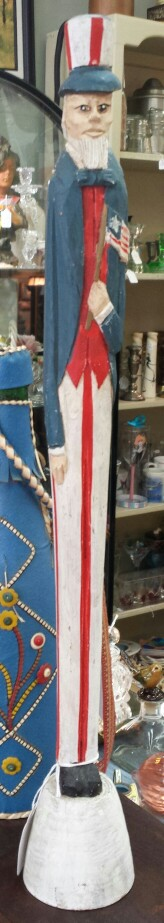 Patriotic wood carved man