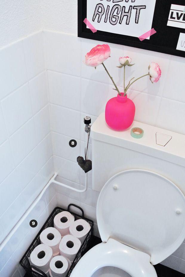 Eu amo rosa e preto junto. Mas, não imaginaria os dois em um...lavabo!   É ou não é um charme? Este lavabo reúne 9 ideias para vc dar uma re...