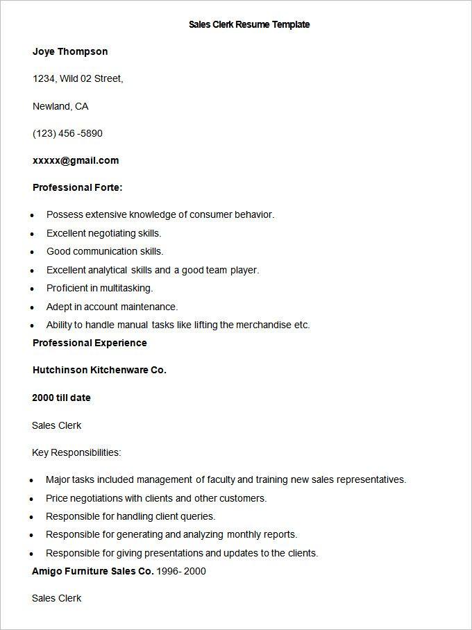 Sample Sales Clerk Resume Template , Write Your Resume Much Easier - account clerk resume