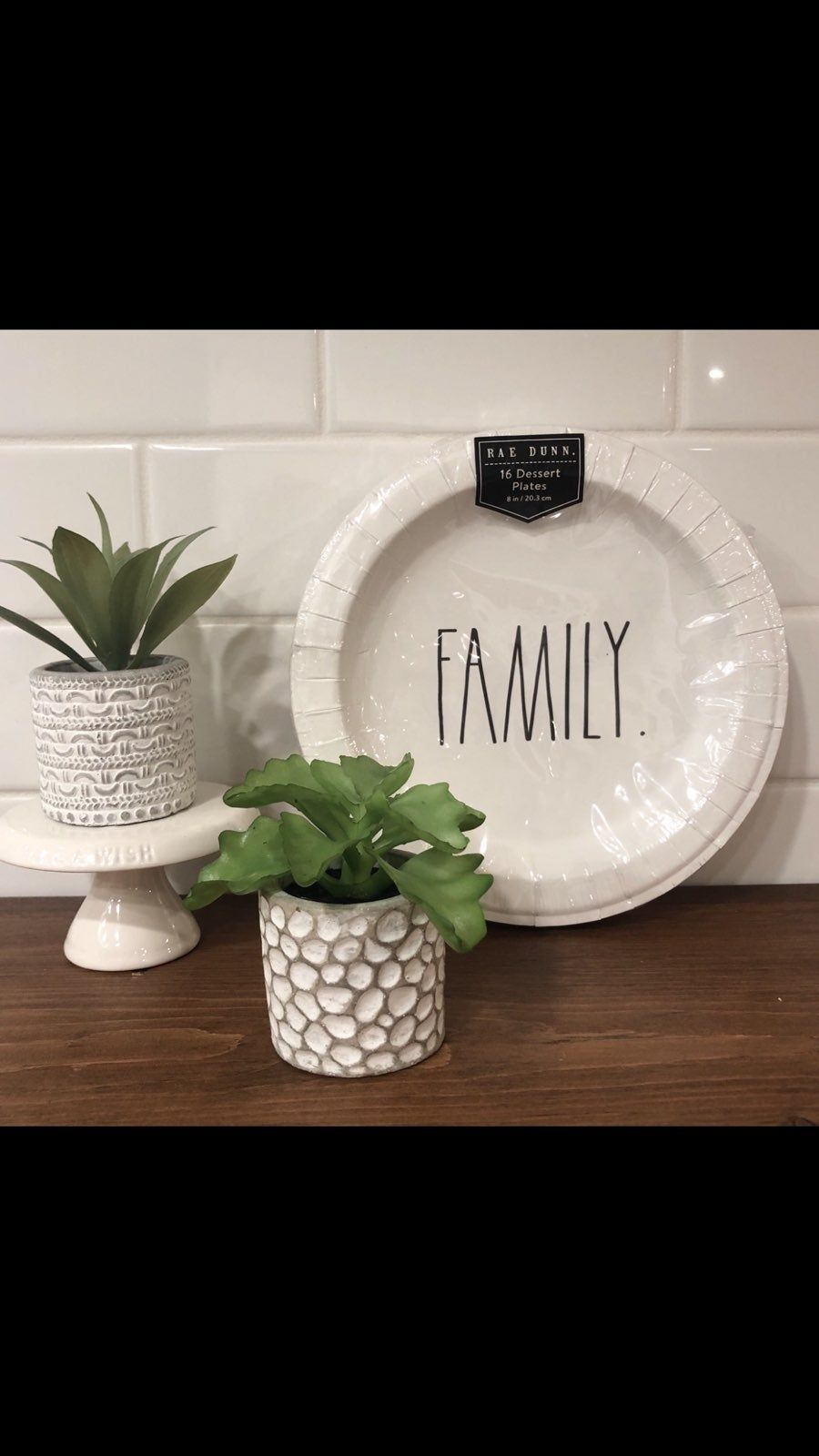 "Rae Dunn paper plates and napkins. Dinner plates and dessert/appetizer plates. Large and small napkins. Featuring the words, ""family"" and ""blessed"". Perfect for your or Christmas parties.   - big plates - 2 packs - small plates - 3 packs - big napkins - 4 packs - small napkins - 1 pack #papernapkins"