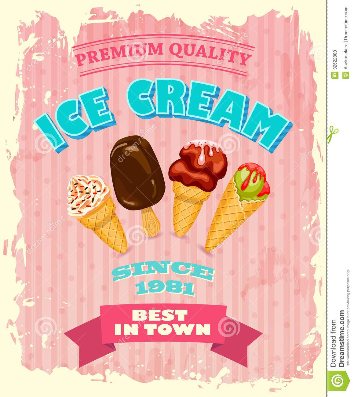 Vintage Ice Cream Posters | Vintage ICE CREAM poster design. This ...