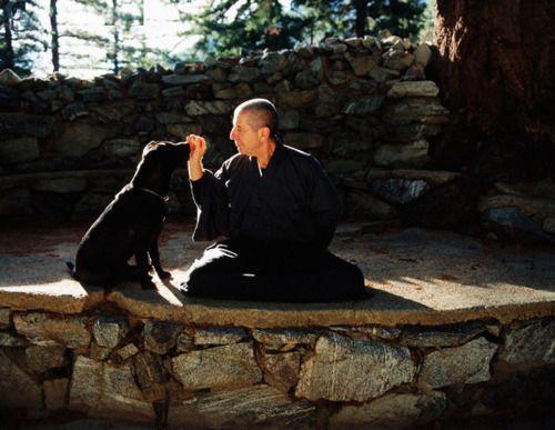 Leonard Cohen at Mt. Baldy with dog