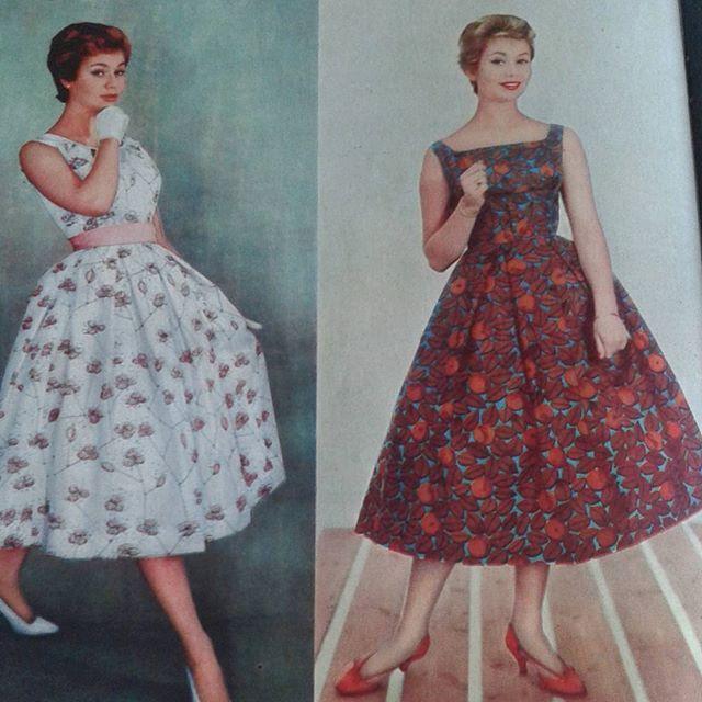 417a41bbdd92 Klänningar i tyg av Viola Gråsten ur en tidning från 1958 ...