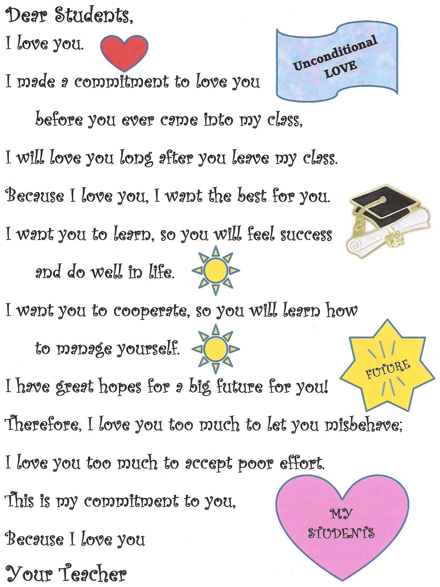 Educators Are Asking For Loving >> Unconditional Love A Teacher S Note To Her Students