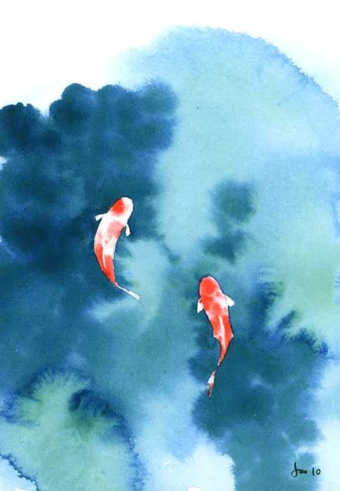 Koi pond watercolor 5x7 print by kitchenfairies on etsy for Simple koi pond