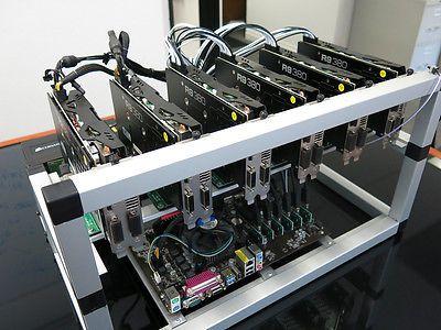 125-130 Mh/s Ethereum ETH ETC Open Air ethOS Mining Rig 6x