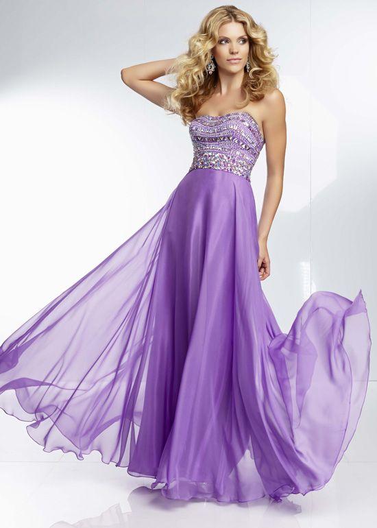 Purple Flowy Strapless Beaded Chiffon Long Prom Dress | Prom Dress ...