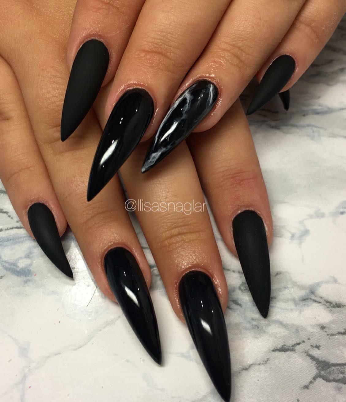 Nsyѕtsiqyyeyeivyai Acrylic Nails Stiletto Grey Gel Nails Black Stiletto Nails