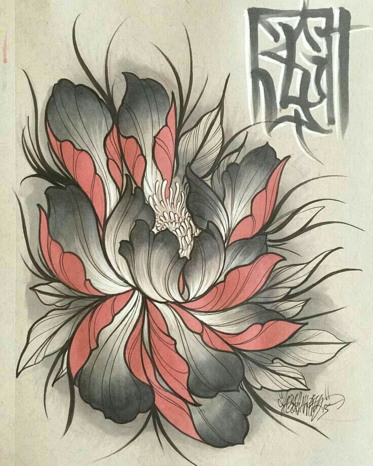 pingl par tuan art sur hoa pinterest tatouage tatouage pivoine et dessin. Black Bedroom Furniture Sets. Home Design Ideas