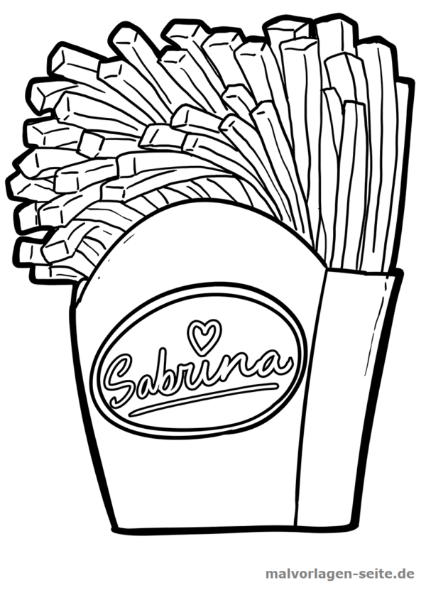 Malvorlage Pommes | Food and drinks | Coloring pages, Color, Free