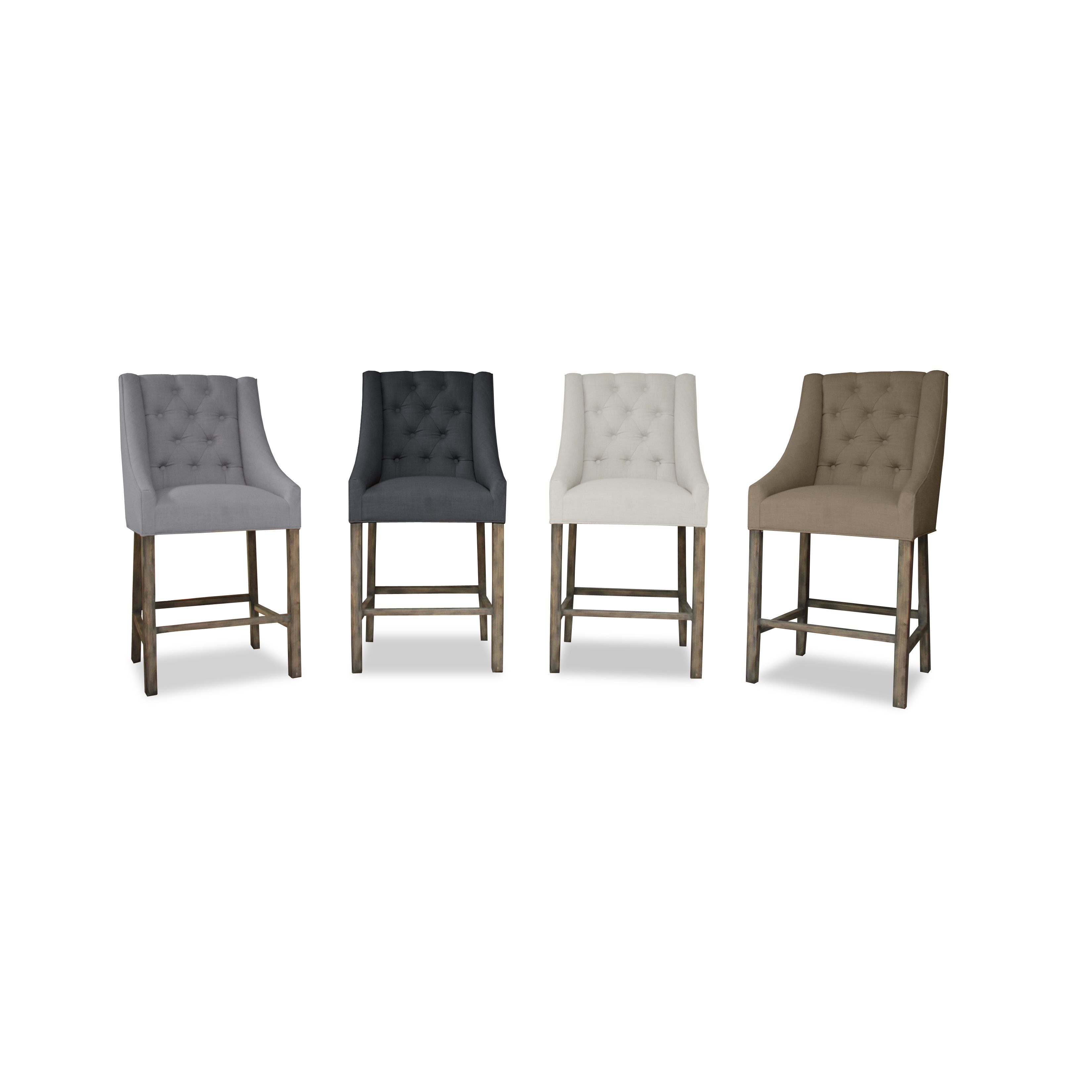 counterheight. Alexa 22w x 26d x 46 ht. nice side view linen blend fabric $231.59 Overstock.com good reviews
