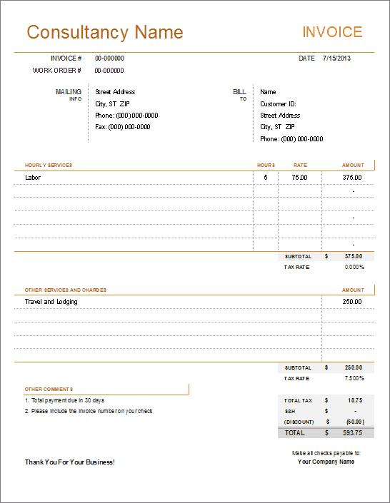 Payment Receipt Template For Consultant