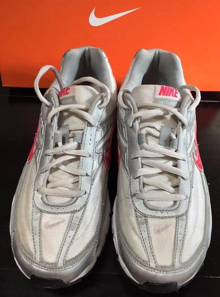 4ceb23f5cf47 Nike Initiator Women s Size 9M Running Shoes White Gray Pink Swoosh Nike
