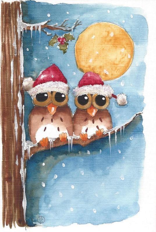 Original Watercolor Painting Art Whimsical Trees Bird Owl