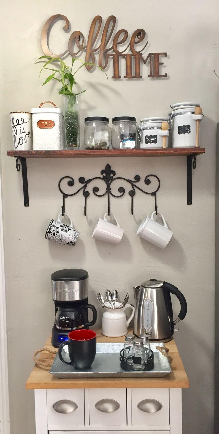 Modern simple coffee bar ideas // Small coffee station