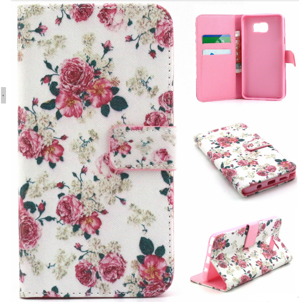 Cute Print Flower Wallet Case For Samsung Galaxy Note 5 Pu Leather Flip Cover With Card Holder For Girls Flower Wallet Leather Phone Cover Leather Wallet Case