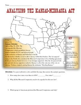 Map Of America Kansas.Kansas Nebraska Act Map Analysis Worksheet The Teacher In Me