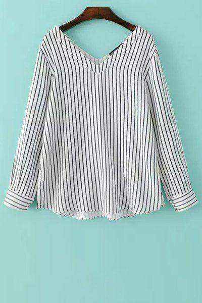 Vertical Stripe V-Neck Long Sleeve Shirt