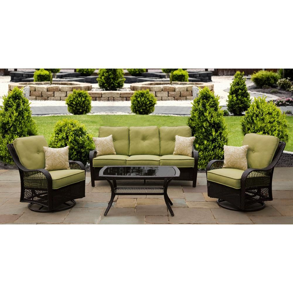 Hanover Orleans 4-Piece Aluminum Patio Seating Set with ...