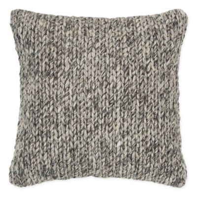 Outstanding Rizzy Home Chunky Knit Square Throw Pillow In Beige Grey Theyellowbook Wood Chair Design Ideas Theyellowbookinfo