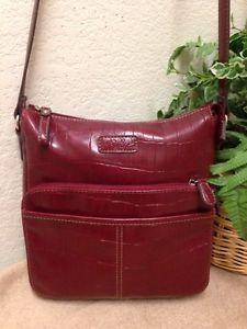 f0b3eb006c2 Relic Crocodile Faux Leather Handbag Crossbody Bag Red Organizer Embossed    eBay